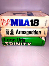 Load image into Gallery viewer, Leon Uris BCE Book Lot of 3 - Trinity - Armageddon - Mila 18 HCDJ