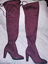 Load image into Gallery viewer, Olivia Miller Burgundy SuedeThigh High 1/2 Zip Boots Shoes Size 8 Preowned