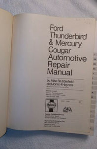 Haynes Repair Manual 36082 - Ford Thunderbird & Mercury Cougar 1983 Thru 1988