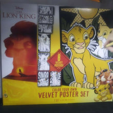Muat gambar ke penampil Galeri, Disney The Lion King Color Your Own Velvet Poster Set Activity NEW