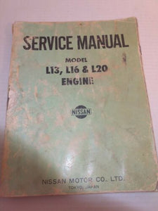 NISSAN SERVICE MANUAL Model L13 L16 L20 Engine 1970s Datsun 510