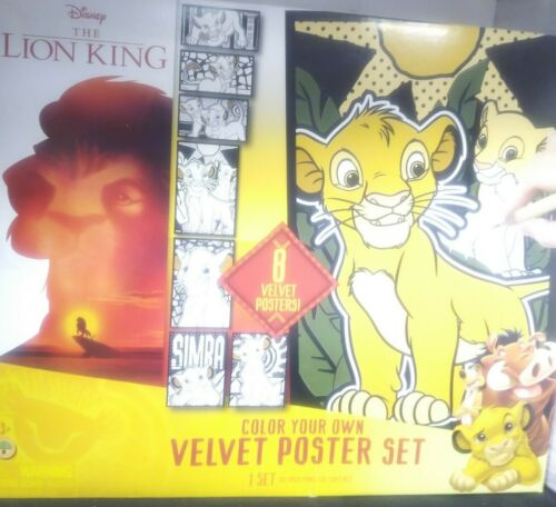 Disney The Lion King Color Your Own Velvet Poster Set Activity NEW
