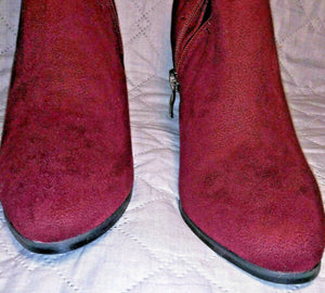 Olivia Miller Burgundy SuedeThigh High 1/2 Zip Boots Shoes Size 8 Preowned