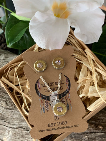'Lucy' Bullet Shell Earrings & Necklace Set