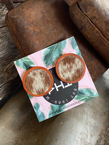 'June' Cowhide Statement Studs