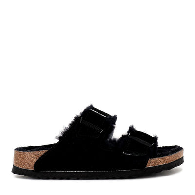 ARIZONA SHEARLING NARROW  - BLACK SUEDE LEATHER