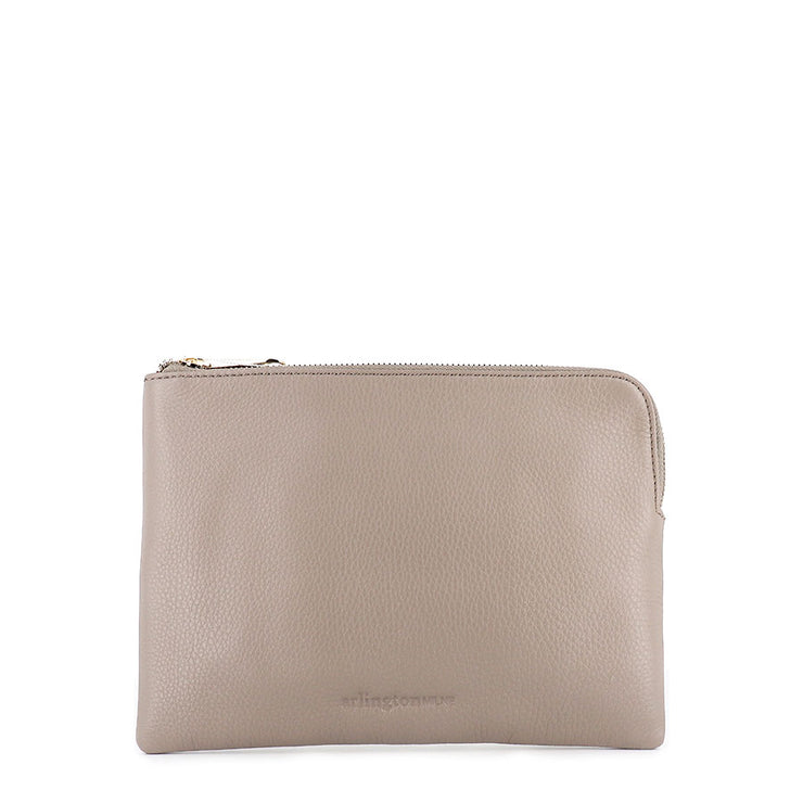 HB PAIGE CLUTCH  - PUTTY LEATHER