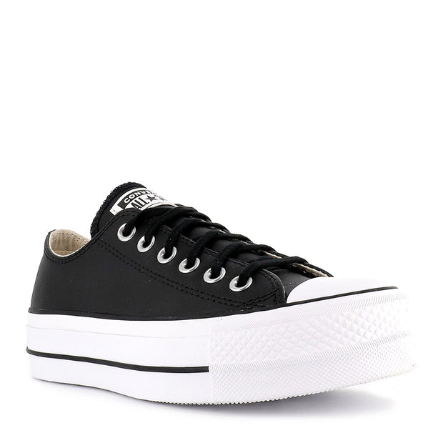 ALL STAR LIFT LOW LEATHER - BLACK BLACK WHITE