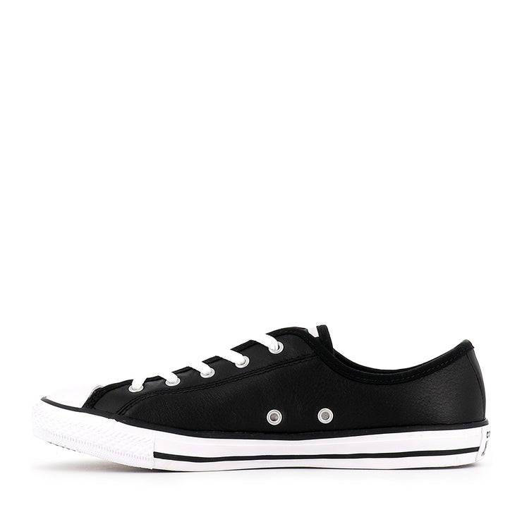 ALL STAR DAINTY LOW LEATHER CORE - BLACK WHITE WHITE