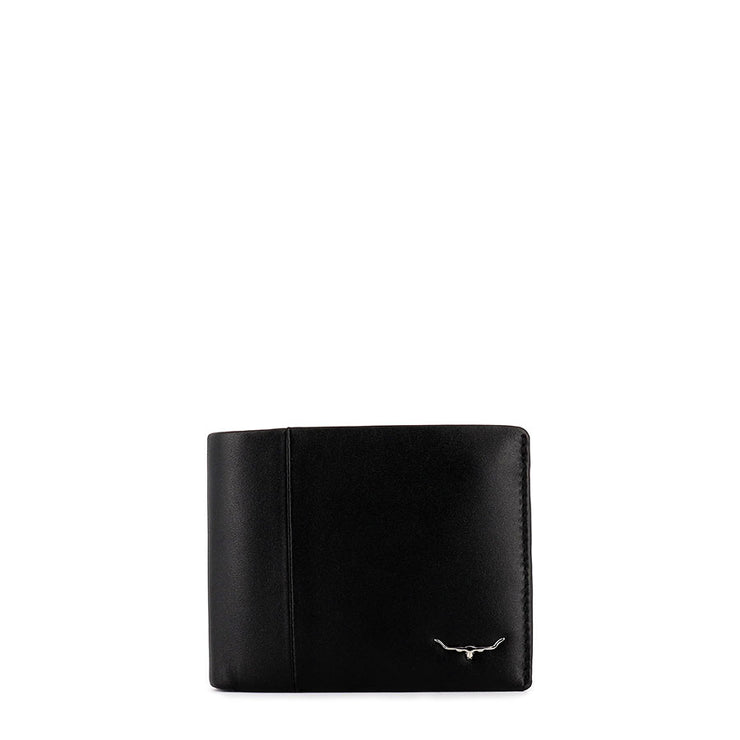 WALLET WITH COIN POCKET - BLACK LEATHER