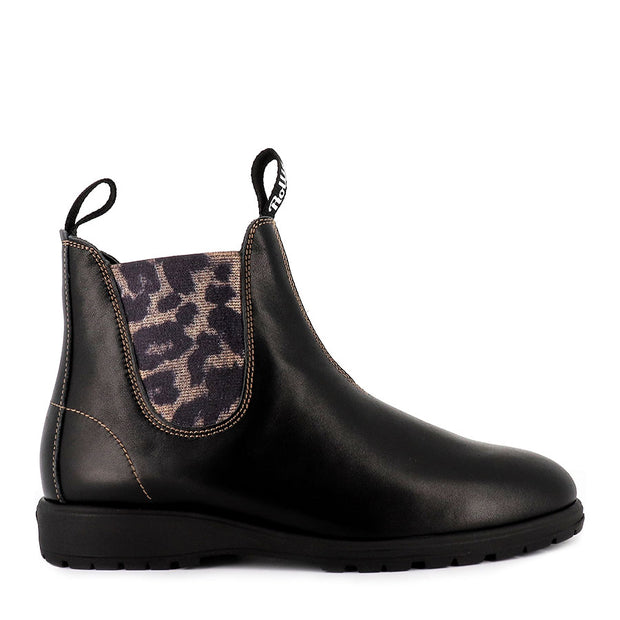 FIELDS CHELSEA BOOT - BLACK/GOLD LEOPARD