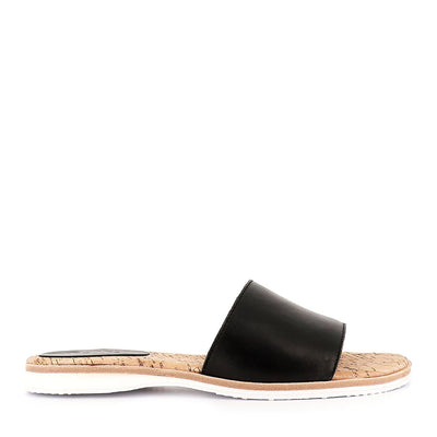 SANDAL SLIDE - BLACK LEATHER