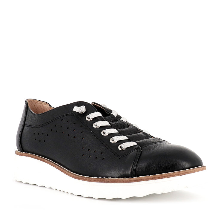 ODRA - BLACK LEATHER WHITE SOLE