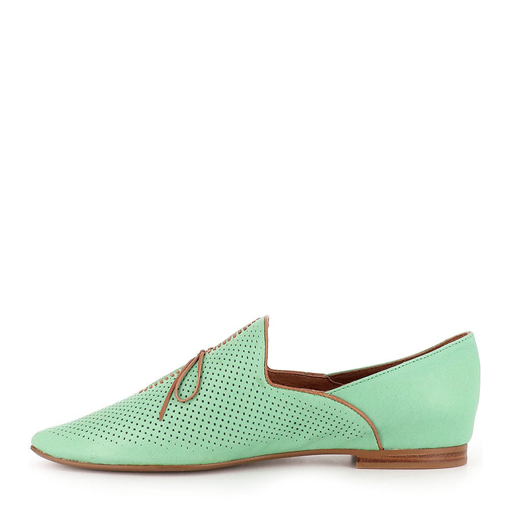 SAGONA - BRIGHT GREEN/DK TAN LEATHER