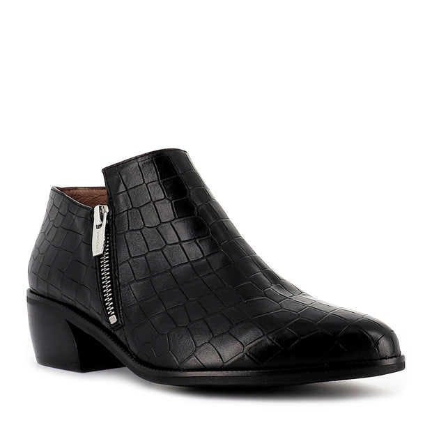 ELYSA E-6021 - BLACK CROC LEATHER