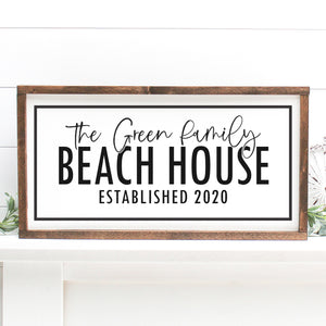 Custom Beach House Established | Framed Painted Wood Sign