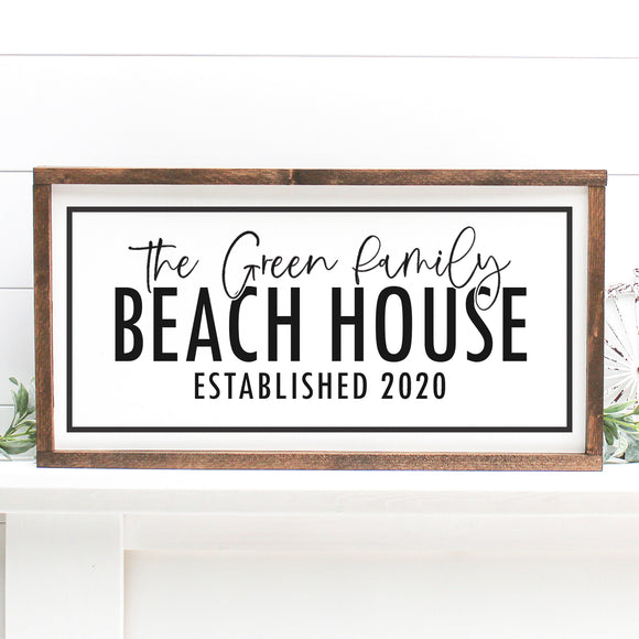 Beach House Custom Name and Year | Framed Painted Wood Sign