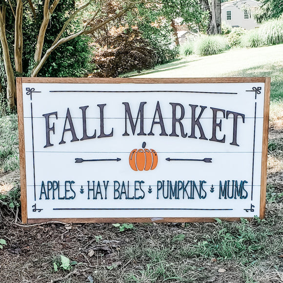Fall Market | Framed Shiplap 3D Wood Sign