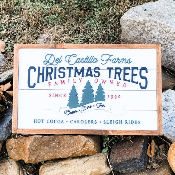Christmas Tree Farm Custom Name and Year | Framed Shiplap 3D Wood Sign
