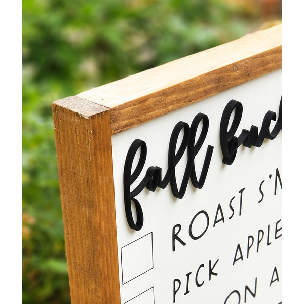 Fall Bucket List | Interactive Framed 3D Wood Sign