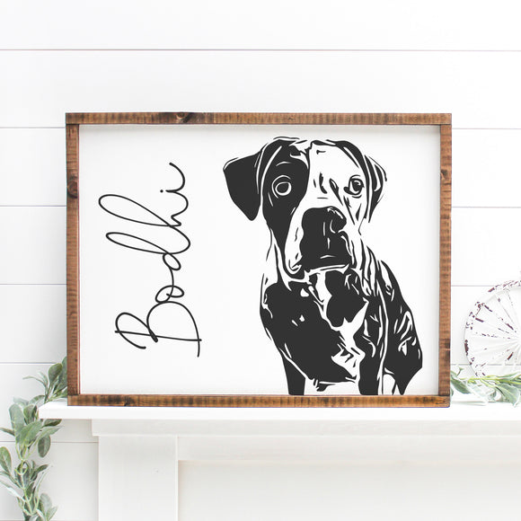 Custom Pet Portrait | Framed Painted Wood Sign