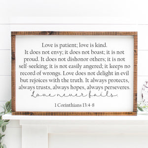 Love Never Fails | Framed Painted Wood Sign