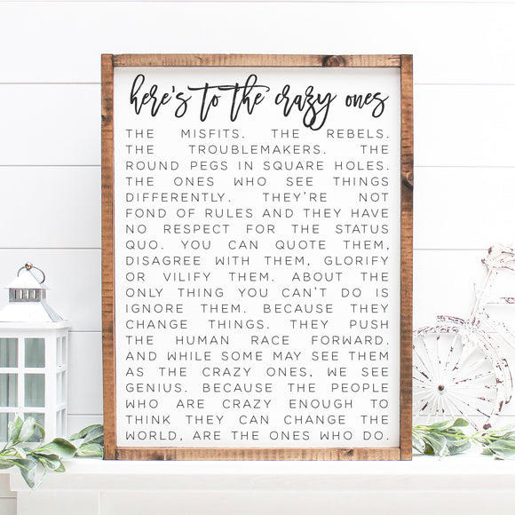 Here's to the Crazy Ones | Framed Painted Wood Sign