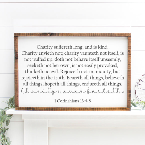 Charity Never Faileth | Framed Painted Wood Sign