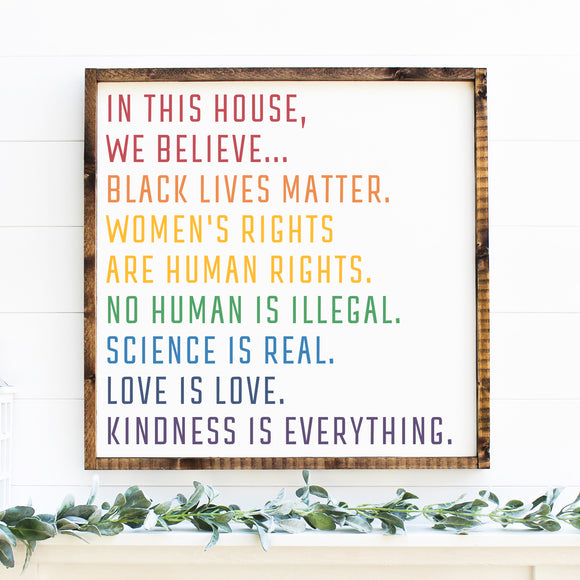 In This House, We Believe | Framed Painted Wood Sign