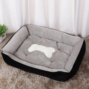 RECTANGULAR BOLSTER BONE PET BED