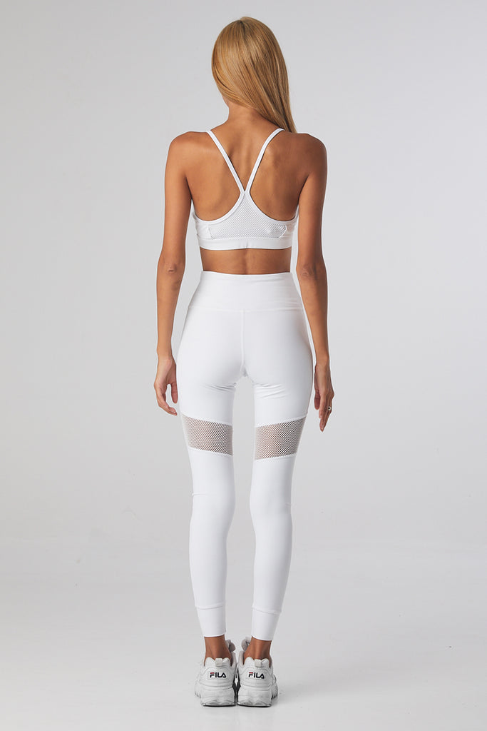 Mesh Sports Tights - Miss Fit - White