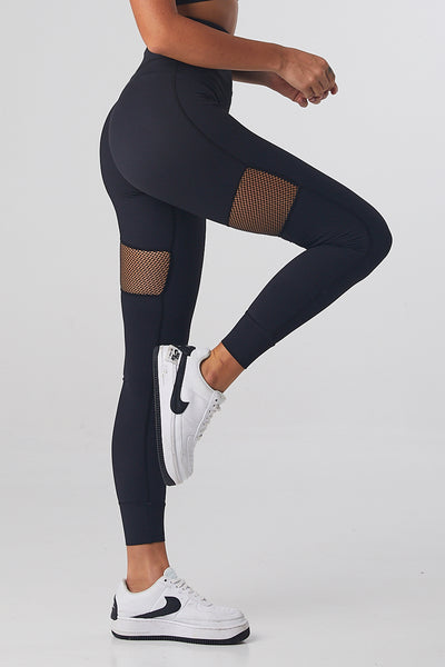 Mesh Sports Tights - Miss Fit - Black