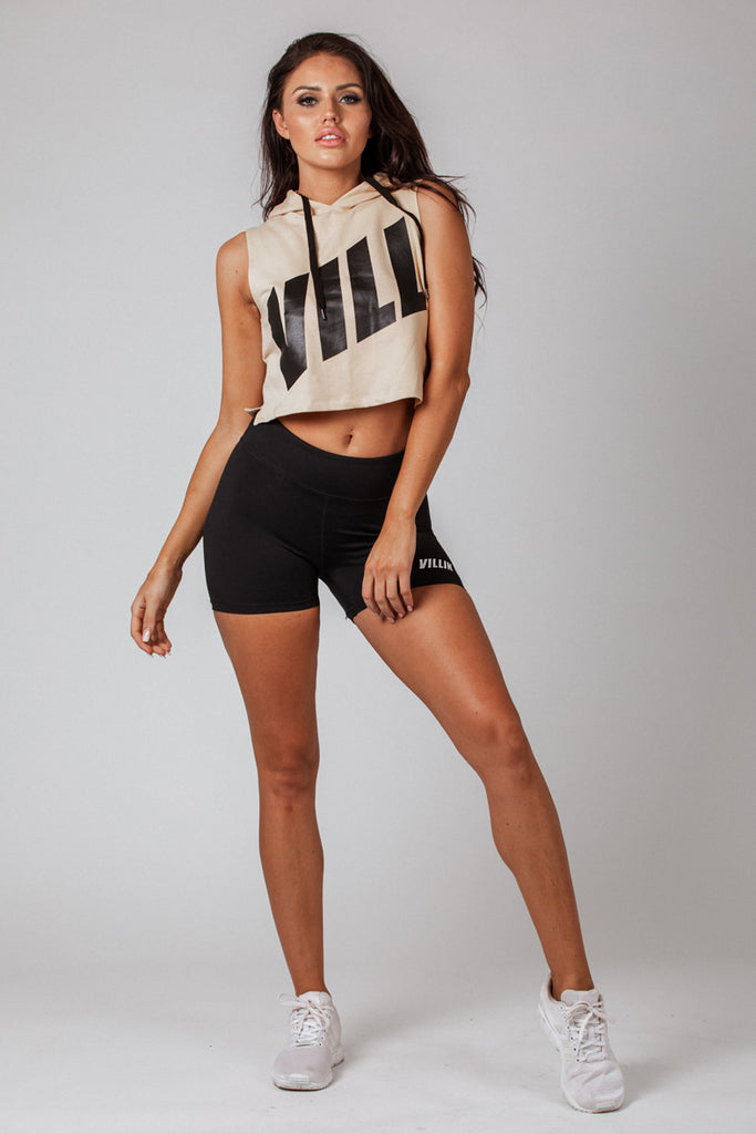 Vill Hooded Crop Tank - Beige