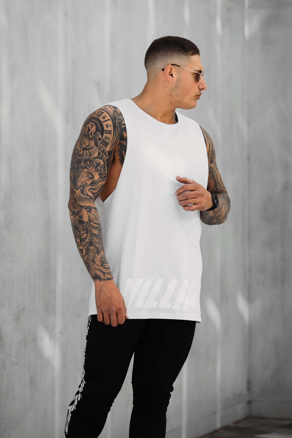 Shadow Drop Tail Tank - White on White