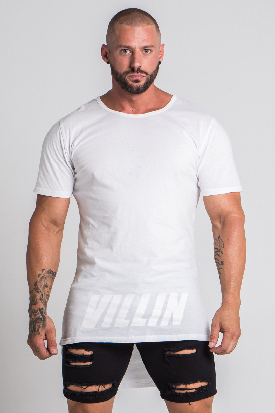 Shadow Drop Tail Tee - White
