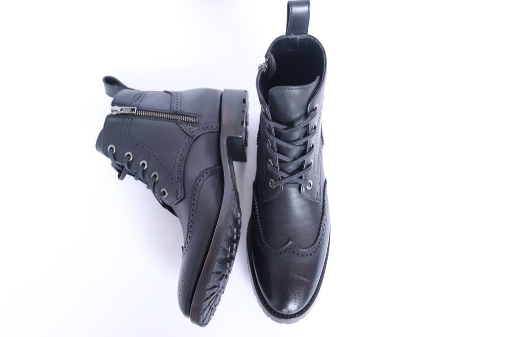 Load image into Gallery viewer, The Adela Lace Up Boot - True Black - Harmonica