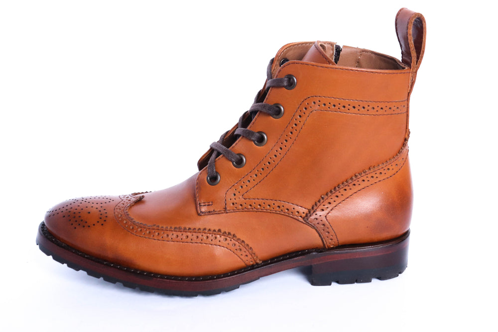 The Adela Lace Up Boot - Toffee - Harmonica