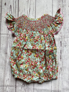 Floral Geometric Smocked Bubble