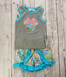 Green & Blue Floral Minnie Appliqué Set