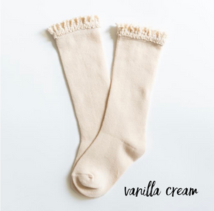 Vanilla Cream Lace Top Knee Highs