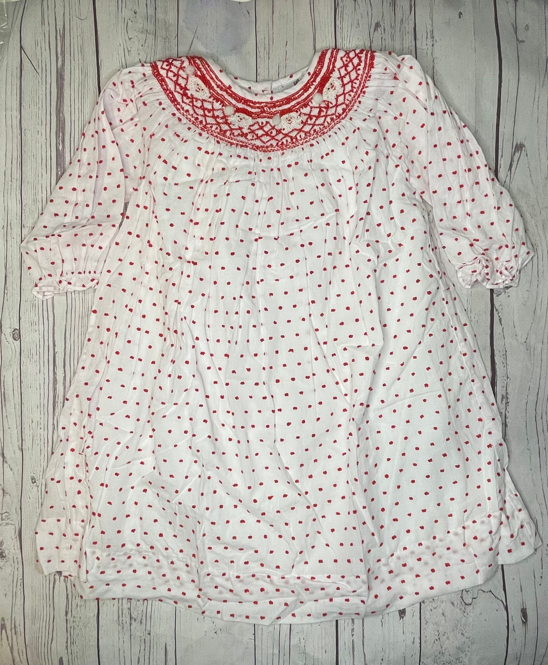 Swiss Dot Linen Dress with Smocked Santa