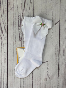 Hand Embroidered Knee High Socks ~ Bow with Single Flower
