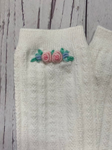 Hand Embroidered Knee High Socks ~ Double Flower
