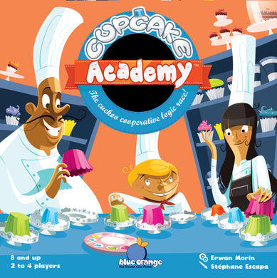 Cupcake Academy Box cover. Game by Blue Orange Games