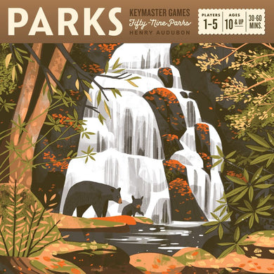 PARKS game from Keymaster Games. Two bears in front of  a waterfall.