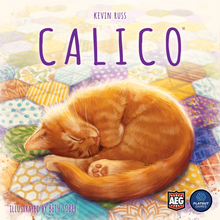 Load image into Gallery viewer, Calico board game cover art: cat laying on a quilt