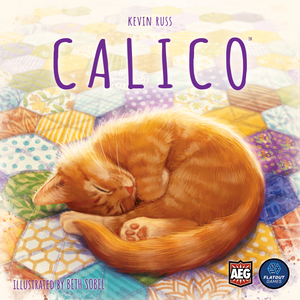 Calico board game cover art: cat laying on a quilt
