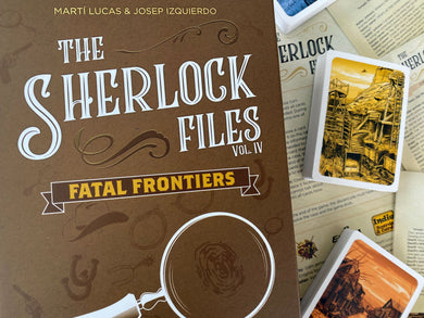 The Sherlock Files Fatal Frontiers front cover and cards in background
