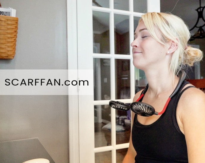 hands-free portable neck fan indoors