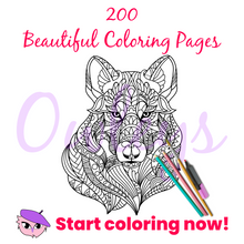 Load image into Gallery viewer, Owleys Printable Coloring Book with 200 Beautiful Coloring Pages